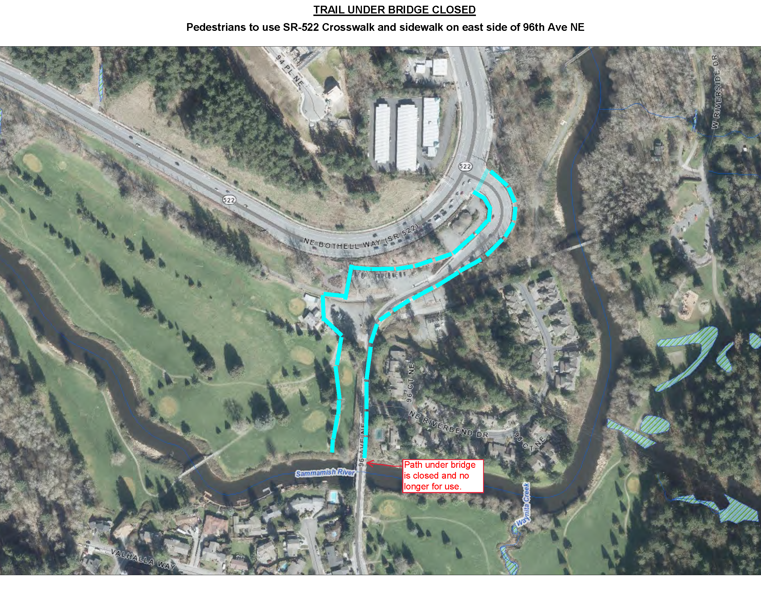 Sammamish River Retrofit Detour Map