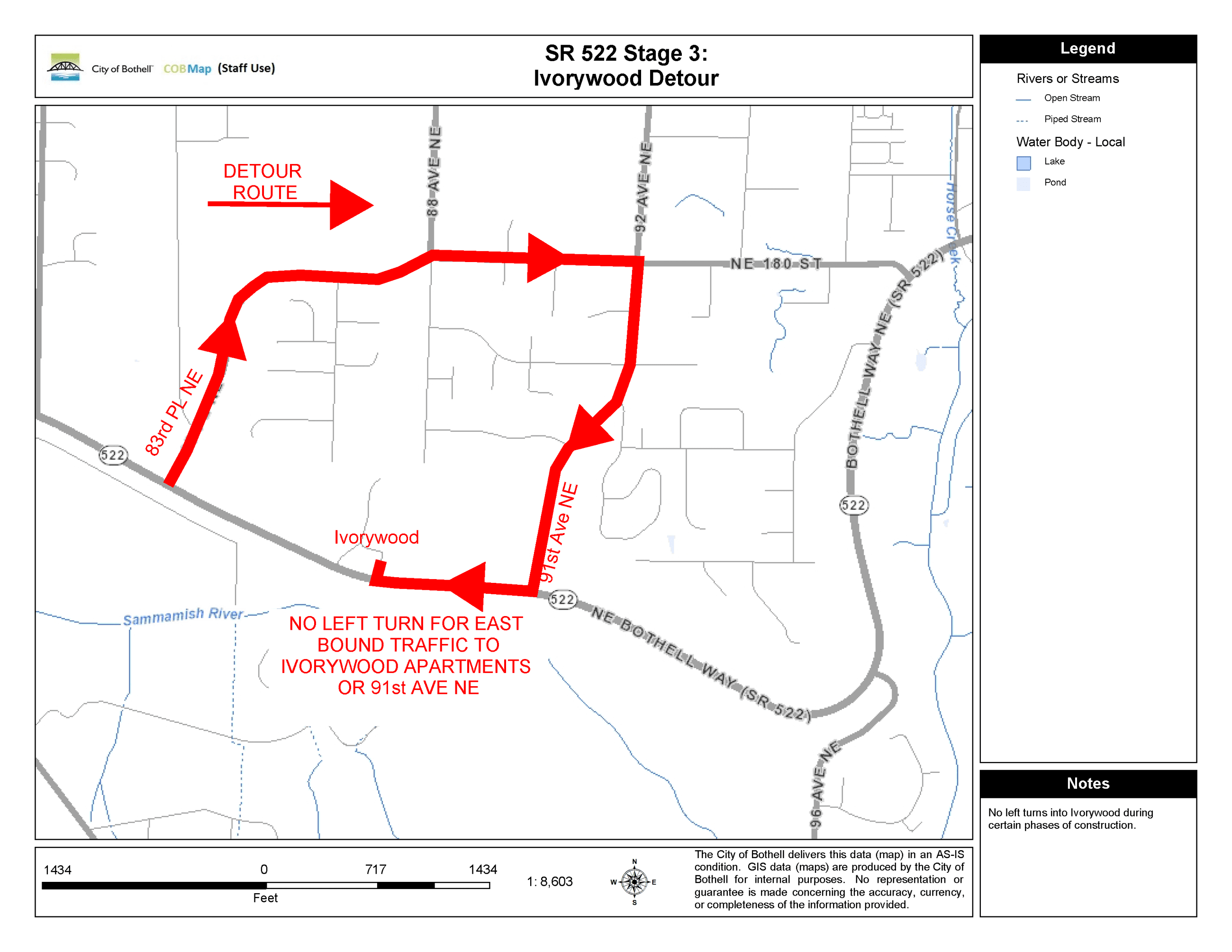 Ivorywood Detour Route Map