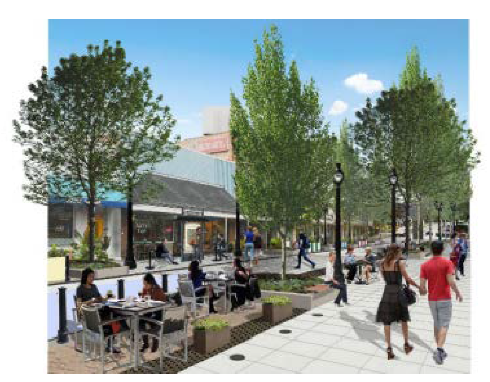 Artist Rendering of Outdoor Dining on Main Street